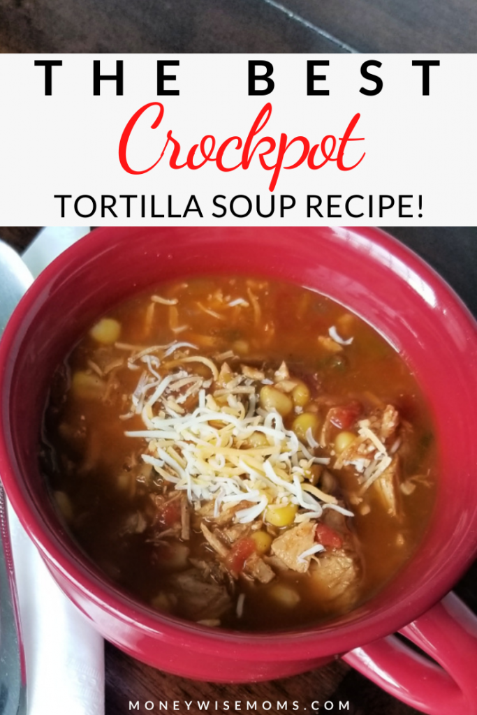pin showing the finished slow cooker chicken tortilla soup ready to eat.