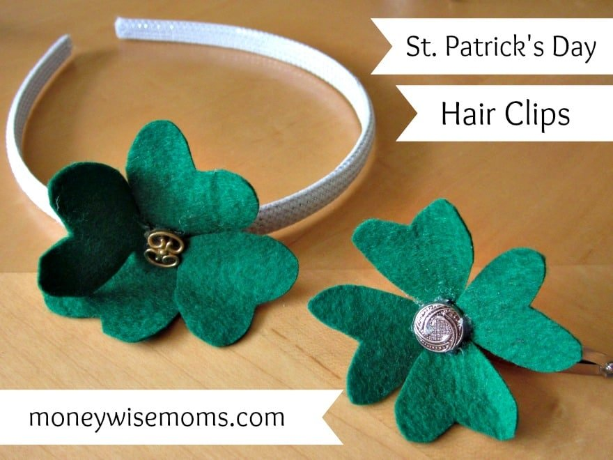 St. Patrick's Day Hair Clips | Super simple craft with felt and a glue gun for last-minute moms like me | MoneywiseMoms