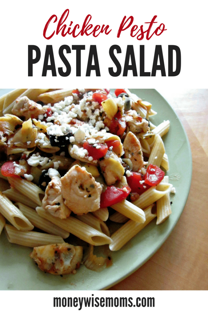 Get dinner on the table on busy nights with easy family meals like pasta salad. This Chicken Pesto Pasta Salad has lots of great flavors and is quick to make!