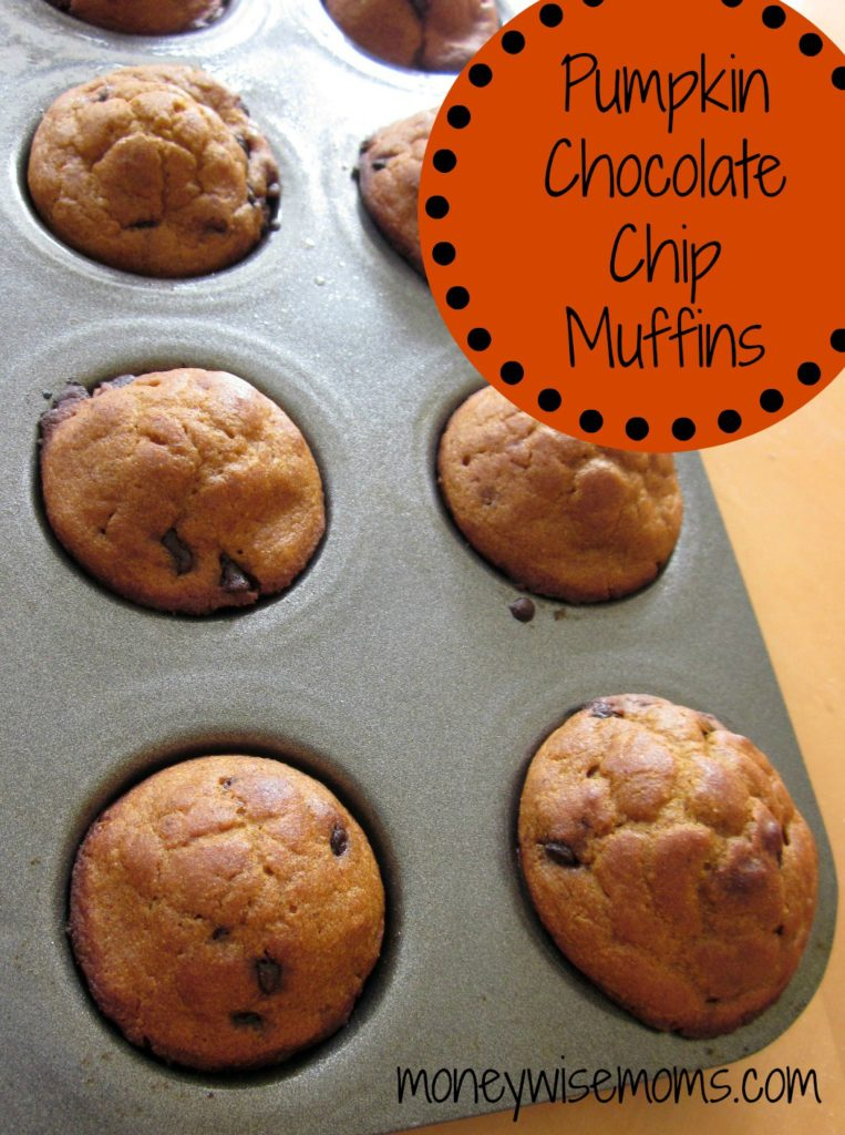 Pumpkin Chocolate Chip Muffins - filled with whole wheat & extra fiber - the perfect lunchbox or afterschool treat