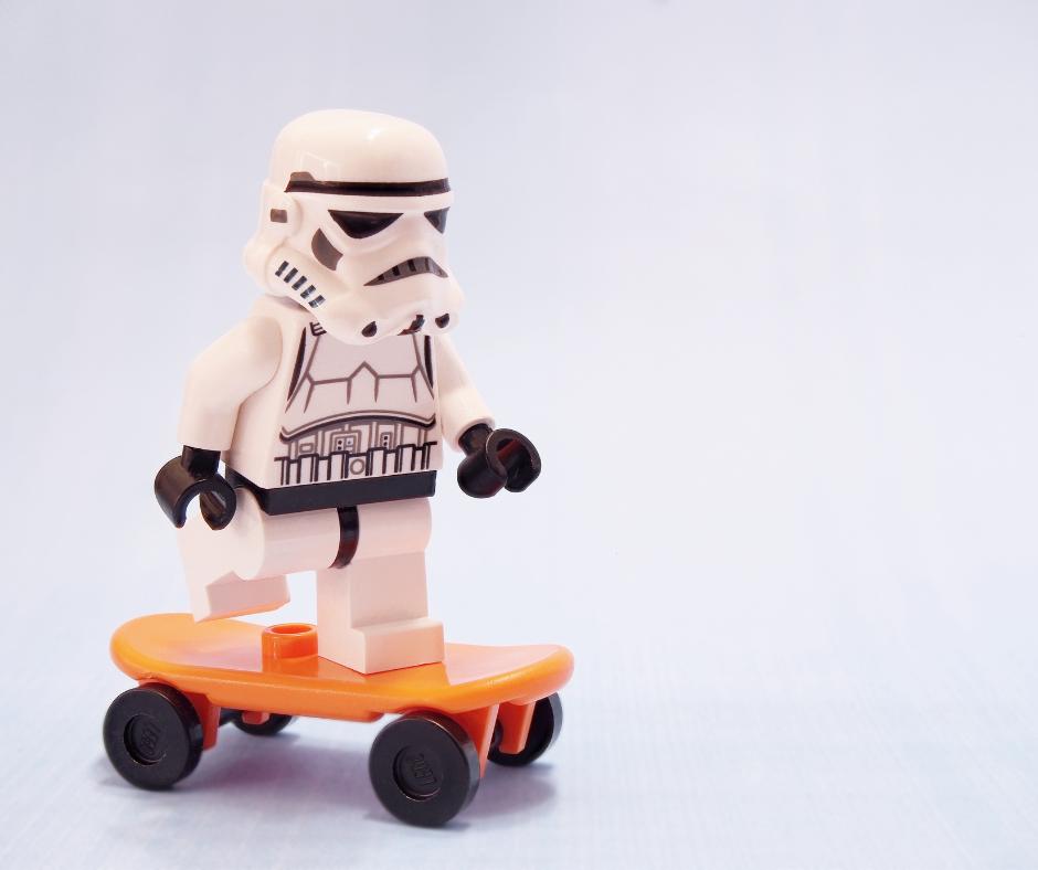 Lego stormtrooper skateboarding