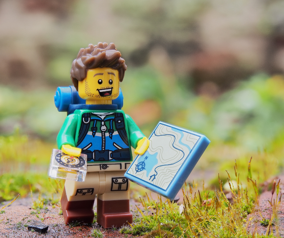 Lego man hiking