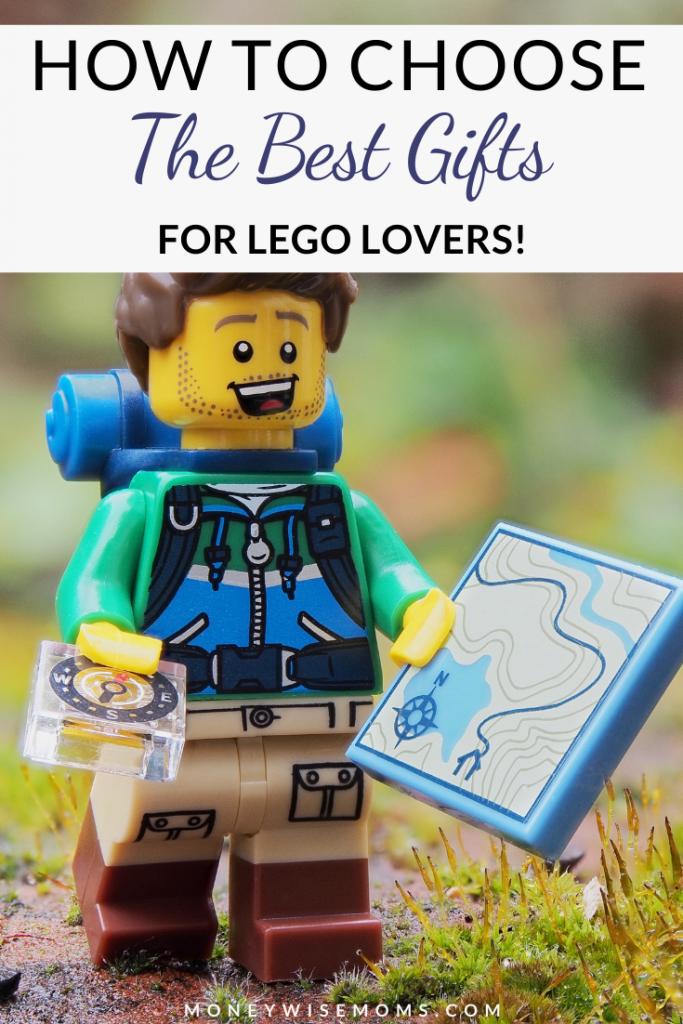 Pin showing the best gifts for lego lovers with lego man hiking in the background.