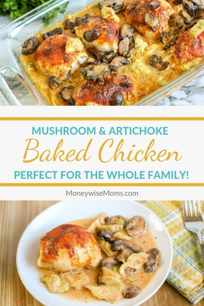 Baked chicken with mushrooms and artichokes is a great dinner recipe for the whole family. This mushroom and artichoke chicken comes with a rich and creamy sauce that is very indulgent. You'll be glad you tried this one!