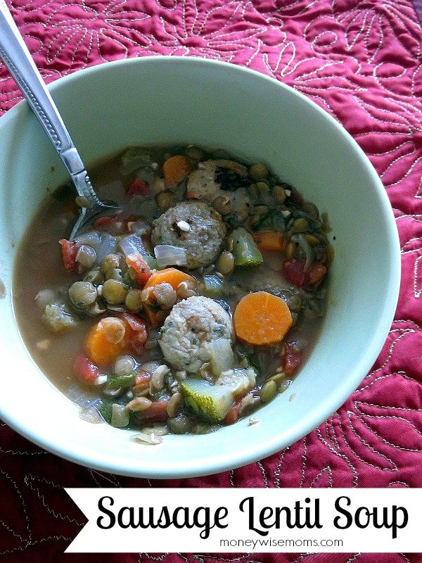 Sausage Lentil Soup | Easy, hearty soup for busy weeknights that can also be made #vegetarian or #gluten-free | MoneywiseMoms