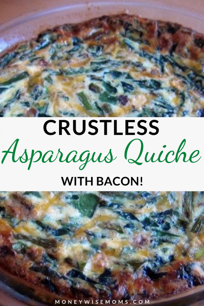 Pin showing the finished crustless bacon asparagus quiche recipe.