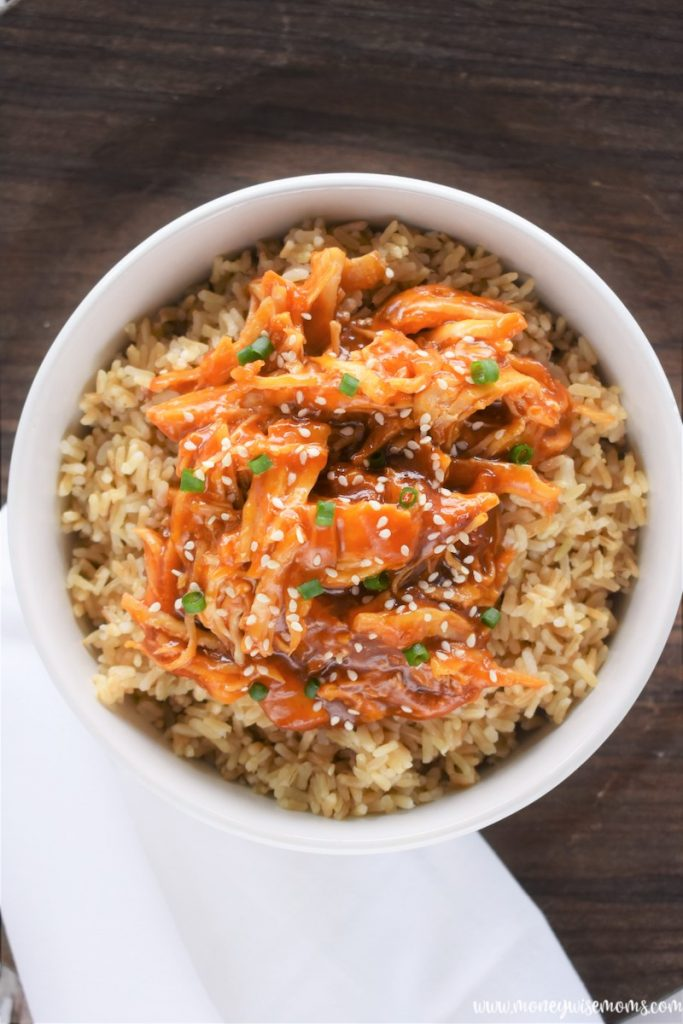 a bowl of finished slow cooker chicken teriyaki ready to eat.
