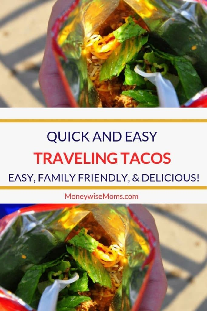 These Traveling Tacos are a huge hit at our swim meet concessions. See the other time I love to make them! For a fun weeknight dinner or a meal on the go this recipe for a taco in a bag is perfection!