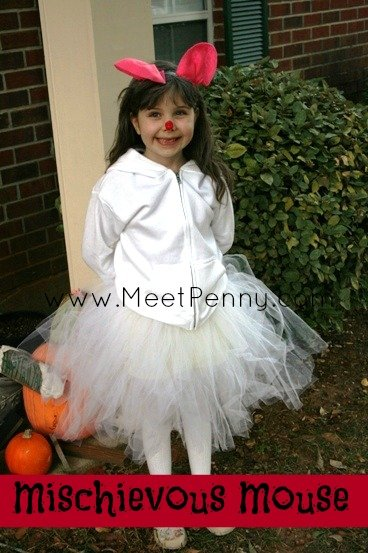 White Mouse Costume with No Sew Tutu