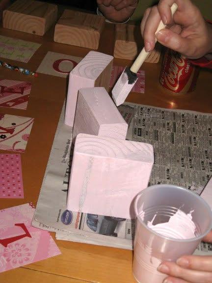 Paint Valentine Blocks