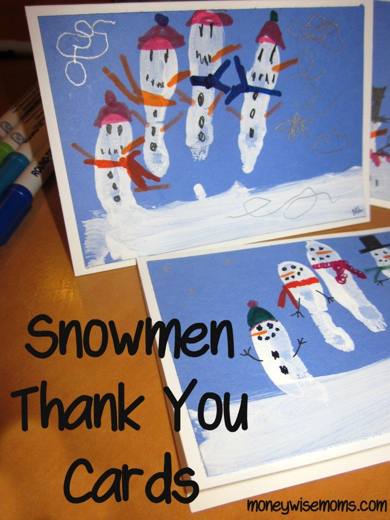Snowmen Thank You Cards via @MoneywiseMoms