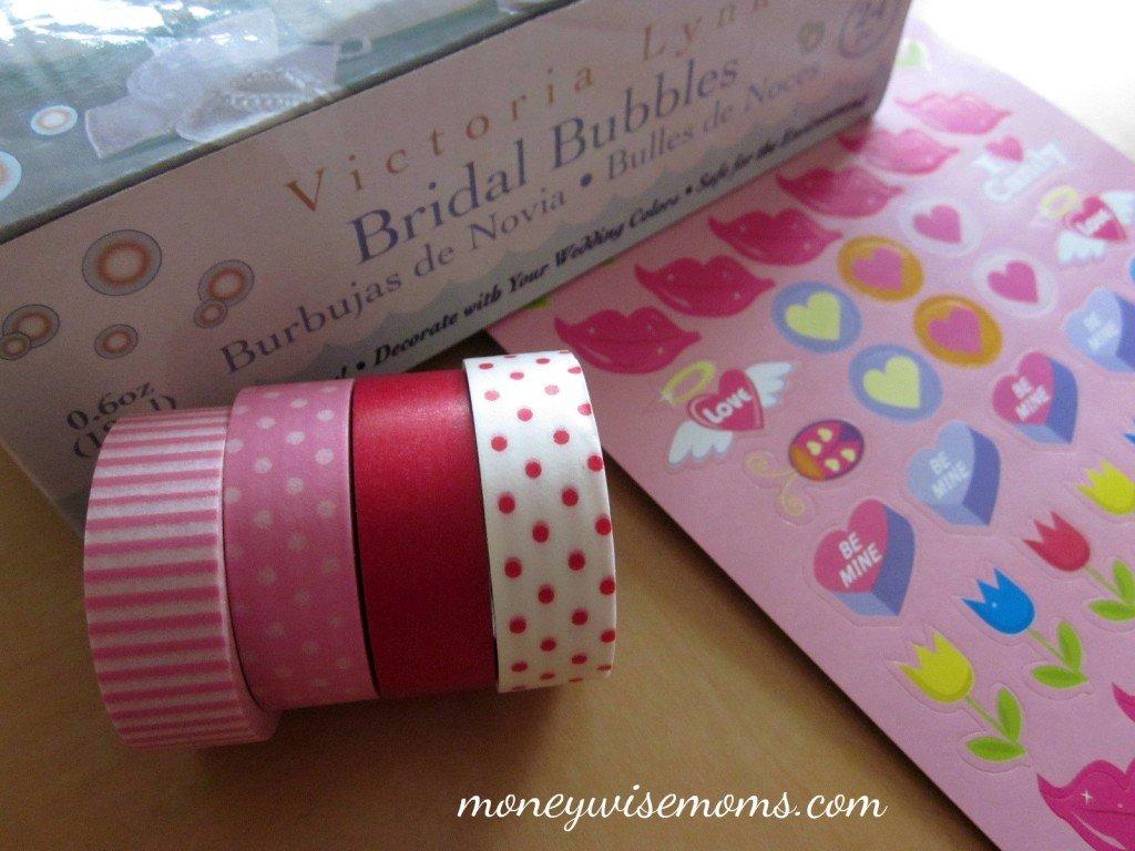 washi tape valentine bubbles supplies