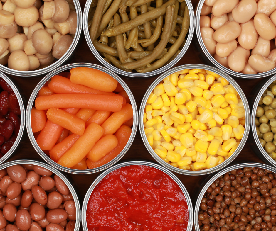 Variety of canned foods: green beans, corn, carrots, mushrooms, beans and tomatoes - how long does canned food last