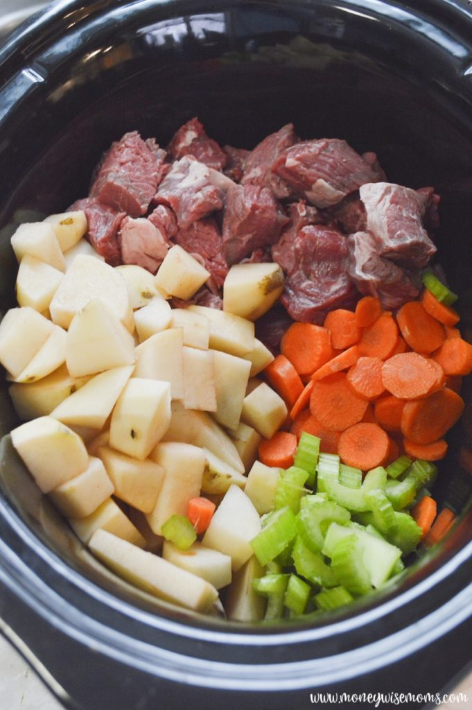 everything being loaded into the crockpot.
