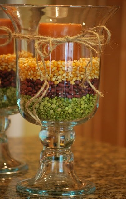 Frugal Thanksgiving Decor | Hurricane Vase via @amandajnebrown