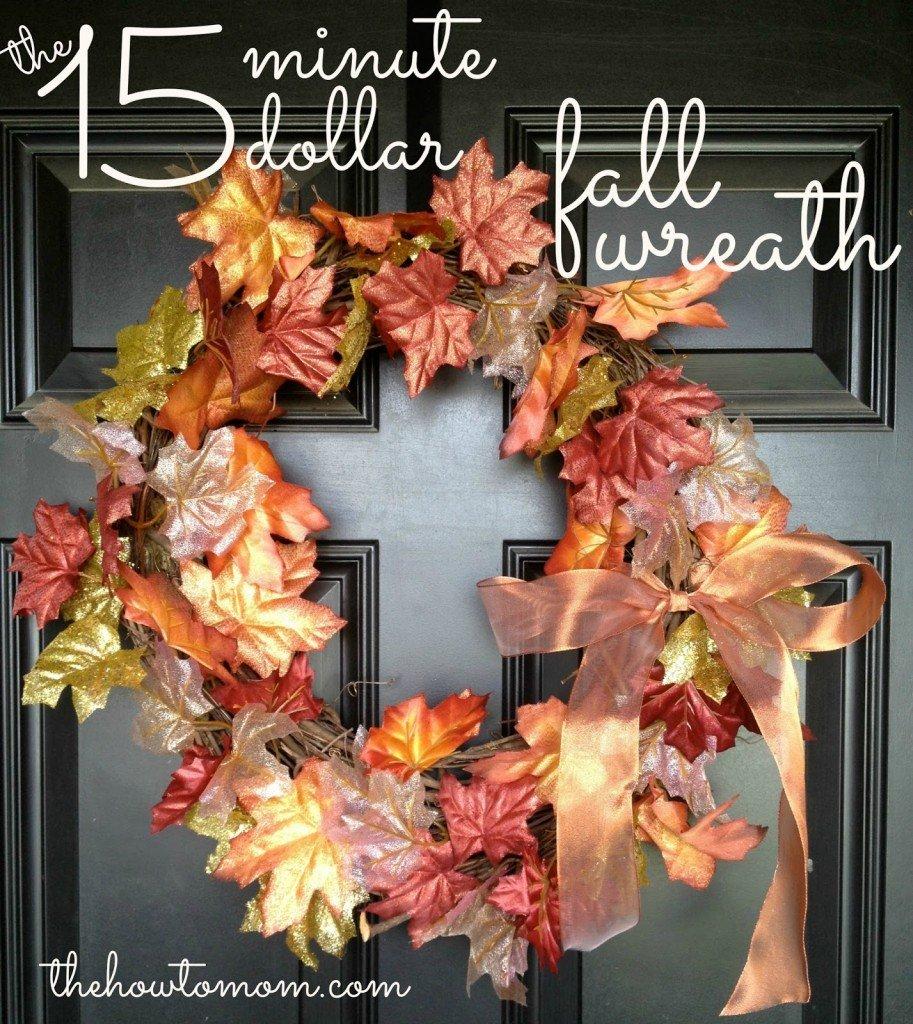 Frugal Thanksgiving Decor | 15 minute 15 dollar fall wreath via @thehowtomom