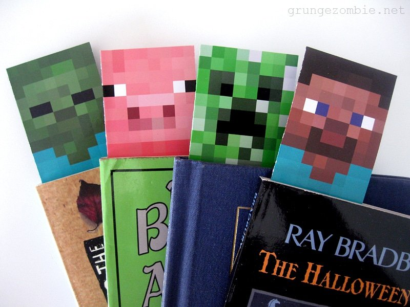 Printable Minecraft Bookmarks from GrungeZombie | Minecraft Valentines Roundup at MoneywiseMoms
