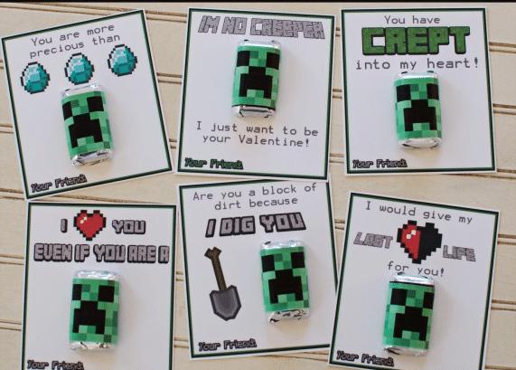 Free Printable Minecraft Valentines from Over the Big Moon | Minecraft Valentines Roundup at MoneywiseMoms