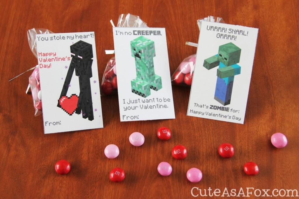 Printable Minecraft Valentines from Cute as a Fox | Minecraft Valentines Roundup at MoneywiseMoms