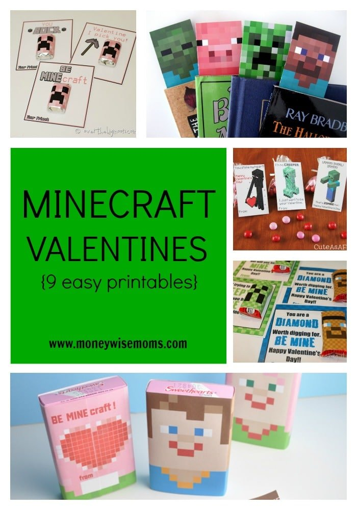 Minecraft Valentines {9 Easy Printables}