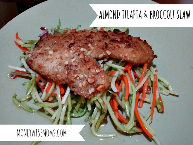 Almond Tilapia and Broccoli Slaw