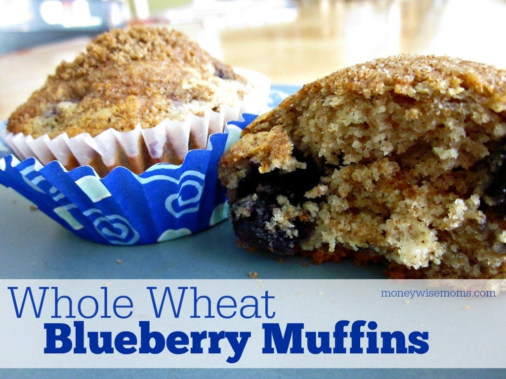 Whole Wheat Blueberry Muffins | Simple #recipe with honey, cinnamon and whole wheat flour #realfood | MoneywiseMoms