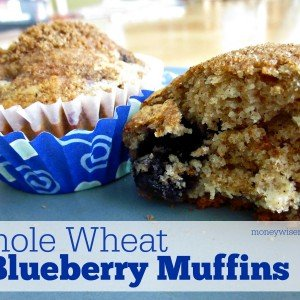 Whole Wheat Blueberry Muffins   Simple #recipe with honey, cinnamon and whole wheat flour #realfood   MoneywiseMoms