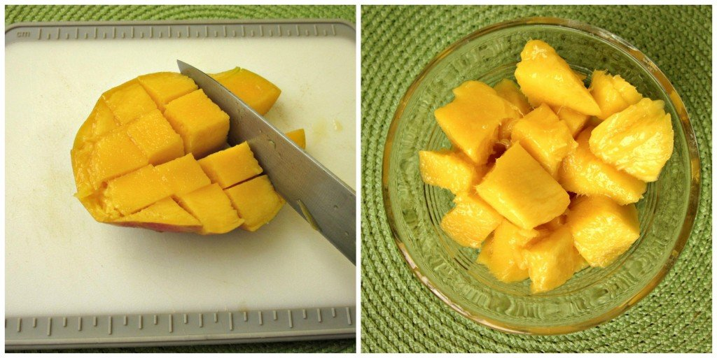 Cutting a Mango for Tropical Green Smoothies with Almond Milk #SilkAlmondBlends #shop | MoneywiseMoms