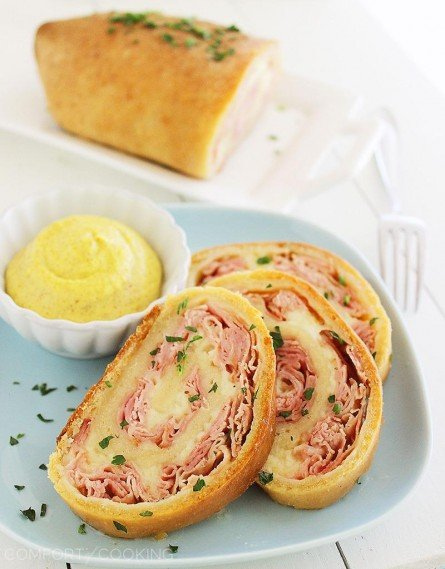 Baked Ham and Cheese Rollups from The Comfort of Cooking   Easy Holiday Appetizers   MoneywiseMoms