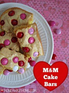 Super Easy M&M Cake Bars | Just 5 ingredients and perfect for Valentines | MoneywiseMoms