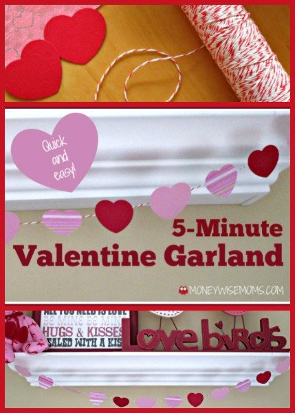 5-minute Valentine Garland | easy Valentine's Day decor | MoneywiseMoms
