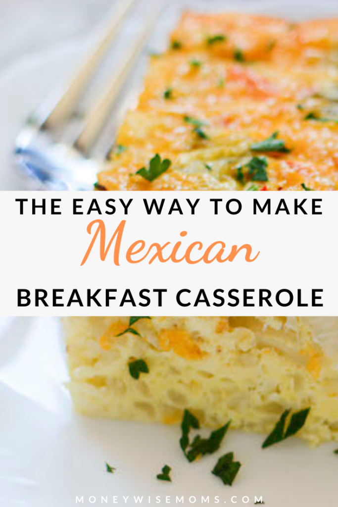 Pin showing the finished mexican breakfast casserole.