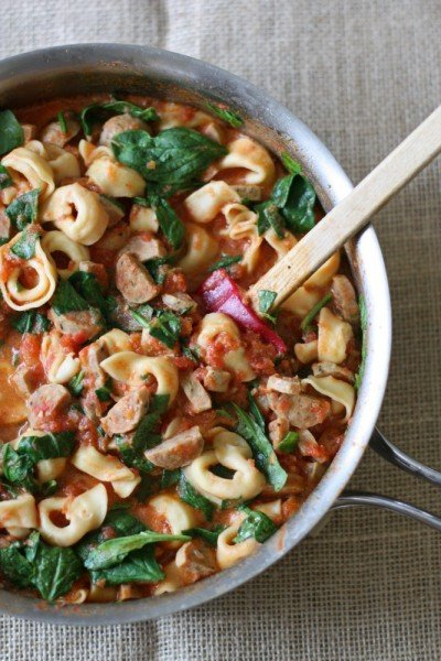 Creamy Sausage and Spinach Tortellini from Everyday Reading | Easy Pasta Dinners