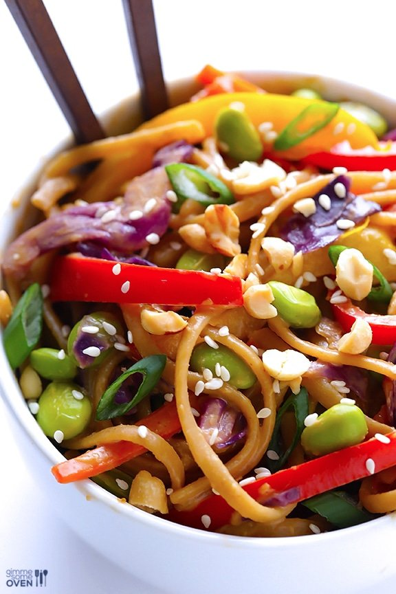 Rainbow Peanut Noodles from Gimme Some Oven | Easy Pasta Dinners