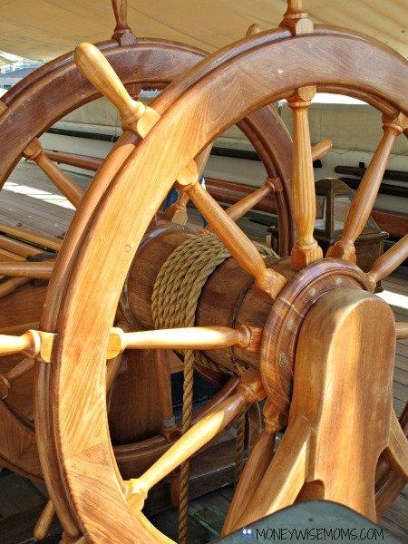 Wheel on USS Constellation in Baltimore | historic ships #familytravel