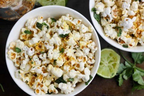 Cilantro Lime Popcorn from Bake Your Day | Savory Popcorn Recipes | frugal snacks made with #realfood | MoneywiseMoms