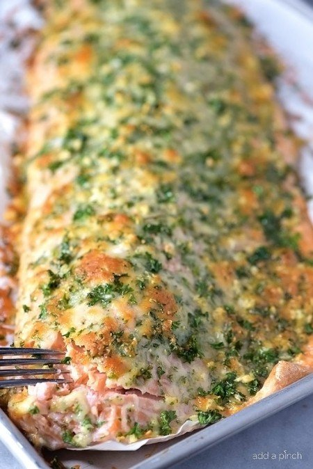 Baked Salmon with Parmesan Herb Crust from Add a Pinch | Super Salmon Recipes
