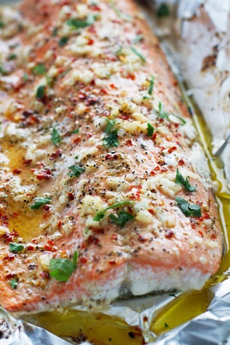 Garlic Butter Baked Salmon in Foil from Little Spice Jar | Super Salmon Recipes