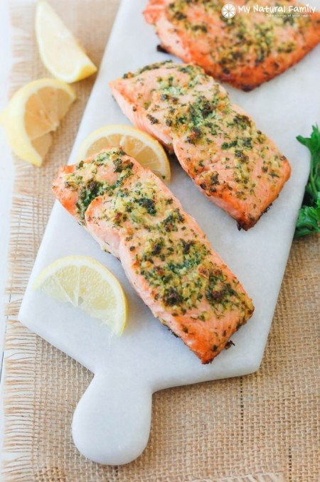 Lemon Garlic Herb Crusted Salmon from My Natural Family | Super Salmon Recipes