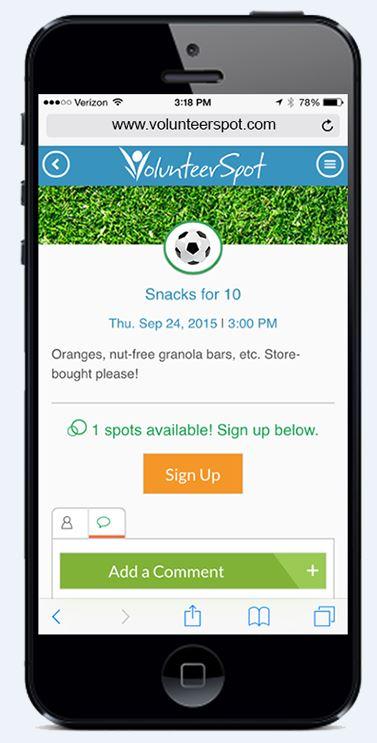 Soccer VolunteerSpot App