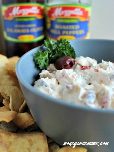 Creamy Olive Roasted Red Pepper Party Dip | easy cream cheese-based dip perfect for any holiday party