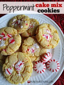 Peppermint Cake Mix Cookies   MoneywiseMoms
