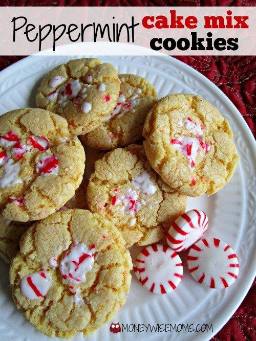 Peppermint Cake Mix Cookies | MoneywiseMoms