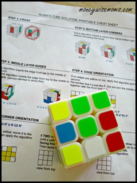 Rubiks Cube Cheat Sheet How to Start Cubing
