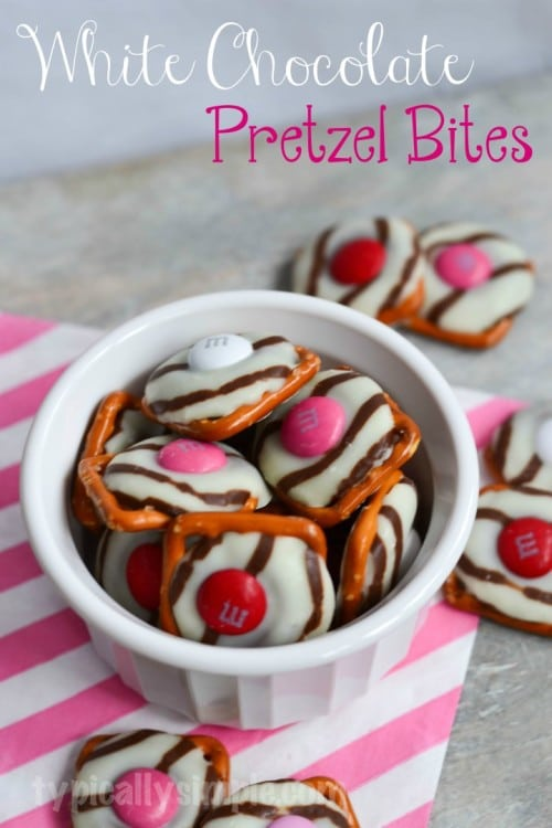 White Chocolate Pretzel Bites from Typically Simple | Valentine Sweets