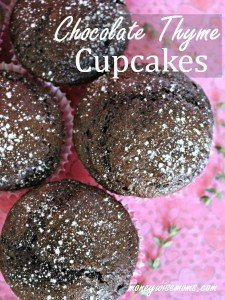 Chocolate Thyme Cupcakes | Luscious and moist chocolate cupcakes filled with sour cream and fresh thyme for a sophisticated flavor