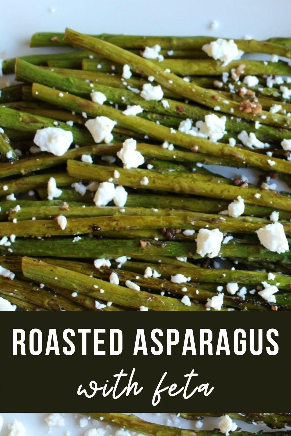 Platter of roasted asparagus with feta cheese