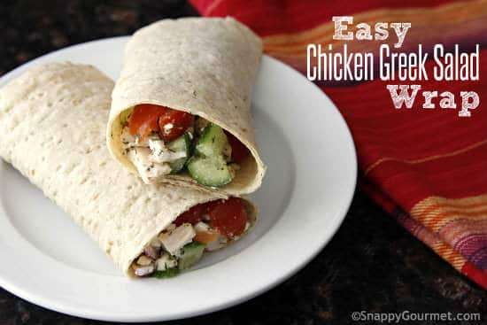 Easy Chicken Greek Salad Wrap from Snappy Gourmet | Swim Meet Dinners {Packable Meals}