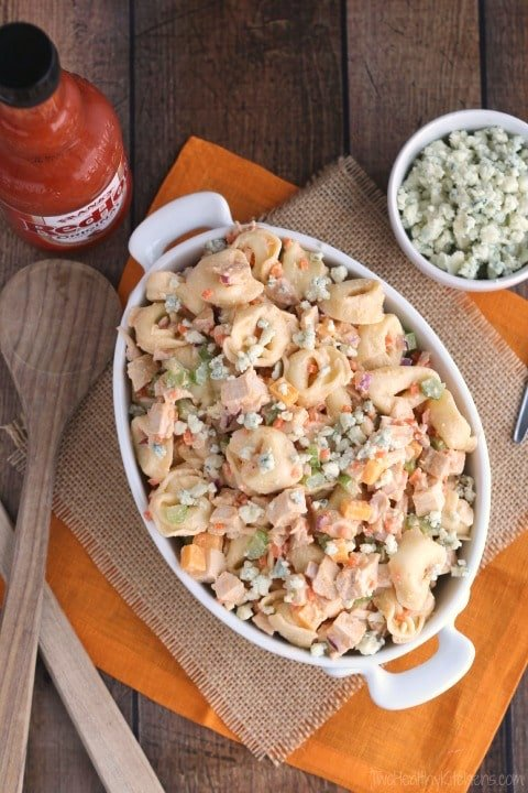 Buffalo Chicken Pasta Salad from Two Healthy Kitchens   Swim Meet Dinners {Packable Meals}