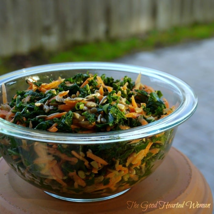 Kale Carrot Salad from The Good Hearted Woman | 10 Picnic and Potluck Side Dishes